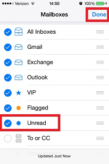 iPhone mail app add unread smart folder.jpg