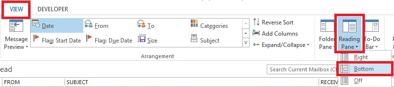 Outlook reading pane disappearing.jpg