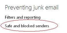 Preventing Junk Mail - Safe and Blocked senders.JPG