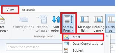 Windows Live Mail Sort by Sender.jpg