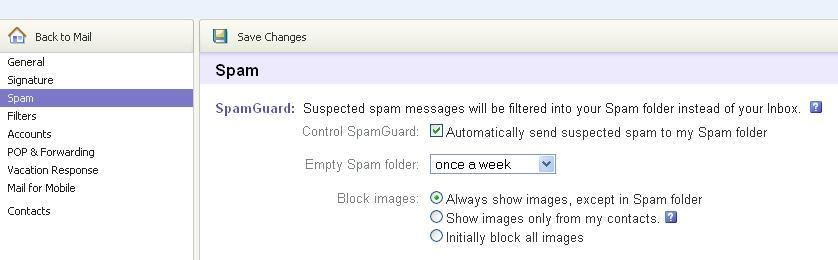 Yahoo Mail spam Folder Options.JPG
