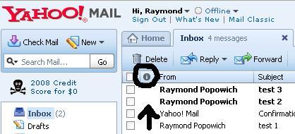 Yahoo Sort Unread Messages.JPG